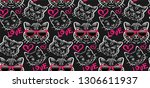 Stock vector seamless pattern with cats in sunglasses vector images 1306611937