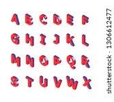 isometric alphabet font. 3d... | Shutterstock .eps vector #1306612477