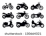 vector black motorcycles and bicycles icon set - stock vector