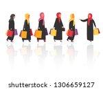 arabic shopping women with bags ... | Shutterstock .eps vector #1306659127