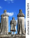 Ancient statue of Christopher Columbus and the Catholic Monarchs (Ferdinand and Isabella) in the Gardens of the Alcázar in Córdoba, Andalusia, southern Spain, Europe.