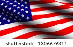 usa 3d flag background | Shutterstock . vector #1306679311