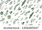seamless leaves pattern. design ... | Shutterstock .eps vector #1306685047