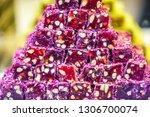 tasty sweet lokum dish in food... | Shutterstock . vector #1306700074