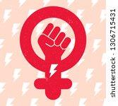 symbol of feminist movement on... | Shutterstock .eps vector #1306715431