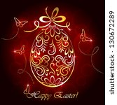 floral golden easter egg and... | Shutterstock . vector #130672289