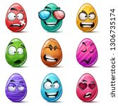happy easter  set color egg.... | Shutterstock .eps vector #1306735174