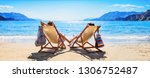 happy couple relaxing on the... | Shutterstock . vector #1306752487