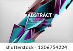 3d geometric triangular shapes...   Shutterstock .eps vector #1306754224
