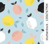 pattern background with lemons. ... | Shutterstock .eps vector #1306767904