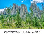 cathedral spires from the... | Shutterstock . vector #1306776454