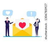 people talking near envelope... | Shutterstock .eps vector #1306783927