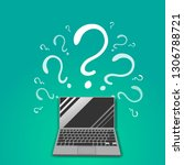 question sign with laptop ...