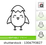 chick in eggshell thin line... | Shutterstock .eps vector #1306793827