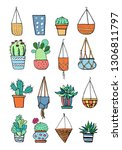 cactus and succulent plants in...   Shutterstock .eps vector #1306811797