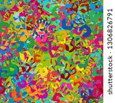 many colorful hand imprints... | Shutterstock . vector #1306826791