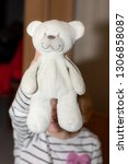 child shows stuffed animal | Shutterstock . vector #1306858087