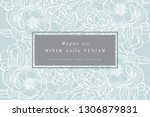 vintage card with peony flowers.... | Shutterstock .eps vector #1306879831