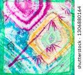 silk scarf handpainted in batik ... | Shutterstock . vector #1306880164