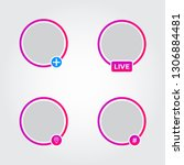 social media avatar frames set. ...
