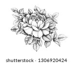 hand drawn floral composition... | Shutterstock . vector #1306920424