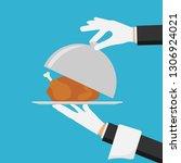 waiter hands with cloche lid... | Shutterstock .eps vector #1306924021