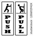 black   white pull push door... | Shutterstock .eps vector #1306929424