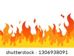 fire flame flat cartoon style.... | Shutterstock .eps vector #1306938091