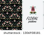 seamless pattern with red... | Shutterstock .eps vector #1306938181
