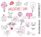 collection of hand drawn... | Shutterstock . vector #1306938217