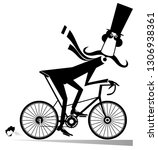 cartoon mustache man rides on... | Shutterstock .eps vector #1306938361