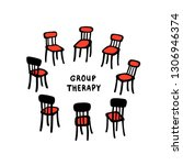 psychology. group therapy. hand ... | Shutterstock .eps vector #1306946374