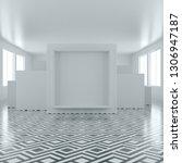 blank frame in empty white room.... | Shutterstock . vector #1306947187
