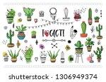 set of cacti . vector... | Shutterstock .eps vector #1306949374