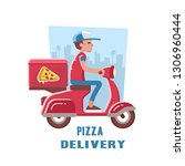 fast and free delivery of pizza ... | Shutterstock . vector #1306960444