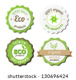 four eco badges for organic ... | Shutterstock .eps vector #130696424