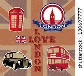 love london. stickers | Shutterstock .eps vector #130697777