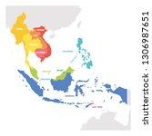 southeast asia region. colorful ... | Shutterstock .eps vector #1306987651
