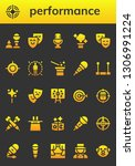performance icon set. 26 filled ... | Shutterstock .eps vector #1306991224