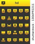 hd icon set. 26 filled hd icons.... | Shutterstock .eps vector #1306992211