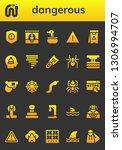 dangerous icon set. 26 filled...   Shutterstock .eps vector #1306994707