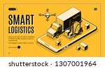 commercial delivery service ... | Shutterstock .eps vector #1307001964