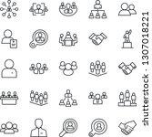thin line icon set   handshake... | Shutterstock .eps vector #1307018221