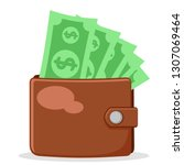 full wallet of paper money on a ... | Shutterstock .eps vector #1307069464