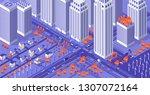 urban city. isometric megapolis.... | Shutterstock .eps vector #1307072164