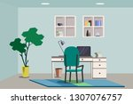 workplace with work chair ... | Shutterstock .eps vector #1307076757