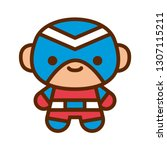 vector cartoon cute super hero... | Shutterstock .eps vector #1307115211