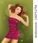 beautiful woman dancing | Shutterstock .eps vector #130711754