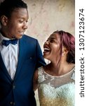 cheerful african descent bride... | Shutterstock . vector #1307123674