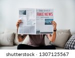 fake news headline on a... | Shutterstock . vector #1307125567